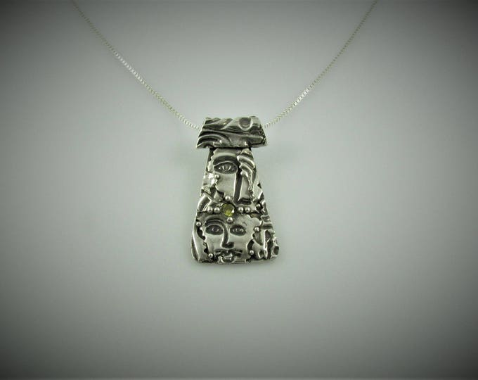 """Item 6114 - """"I See You""""  999 Fine & 925 Sterling Silver Carved Faces Layered Textured with Stunning Topaz CZ and 925 Sterling Silver Chain"""