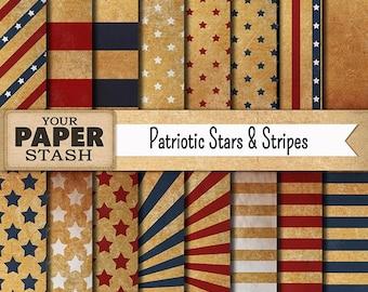 Patriotic Digital Paper, 4th of July Digital Paper, Vintage Style, Red White Blue, Stars & Stripes, Scrapbook Paper, Commercial Use, Digital