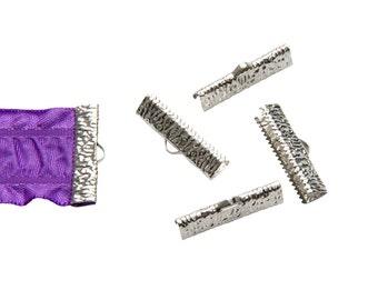 16 pieces  25mm  (1 inch)  Platinum Silver Ribbon Clamp End Crimps - Artisan Series