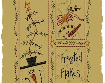 Frosted Flakes--5X7--Primitive Machine Embroidery Design-INSTANT DOWNLOAD