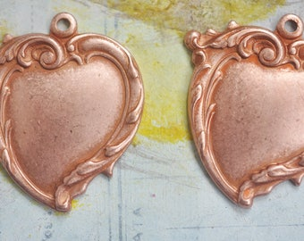 Two Wavy Heart Brass Charms, Rose Gold Ox