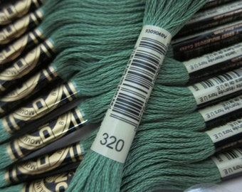 Medium Pistachio Green #320, DMC Cotton Embroidery Floss - 8m Skeins - Available in Single Skeins, Larger Pkgs & Full (12 skein) Boxes