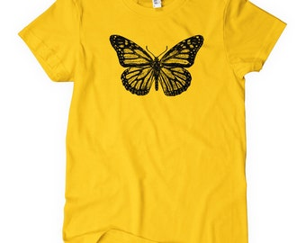 Women's Monarch Butterfly T-shirt - S M L XL 2x - Ladies' Tee, Butterflies Shirt, Vintage Shirt, Wings Shirt, Butterfly Gift, Butterfly Art