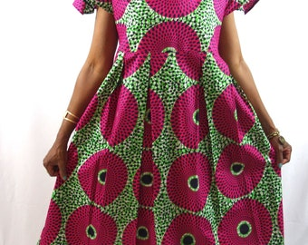 African Dress for women, African Print Dress, African Clothing, Midi Dress, Pink Dresses, Jupe Midi, Summer Dress