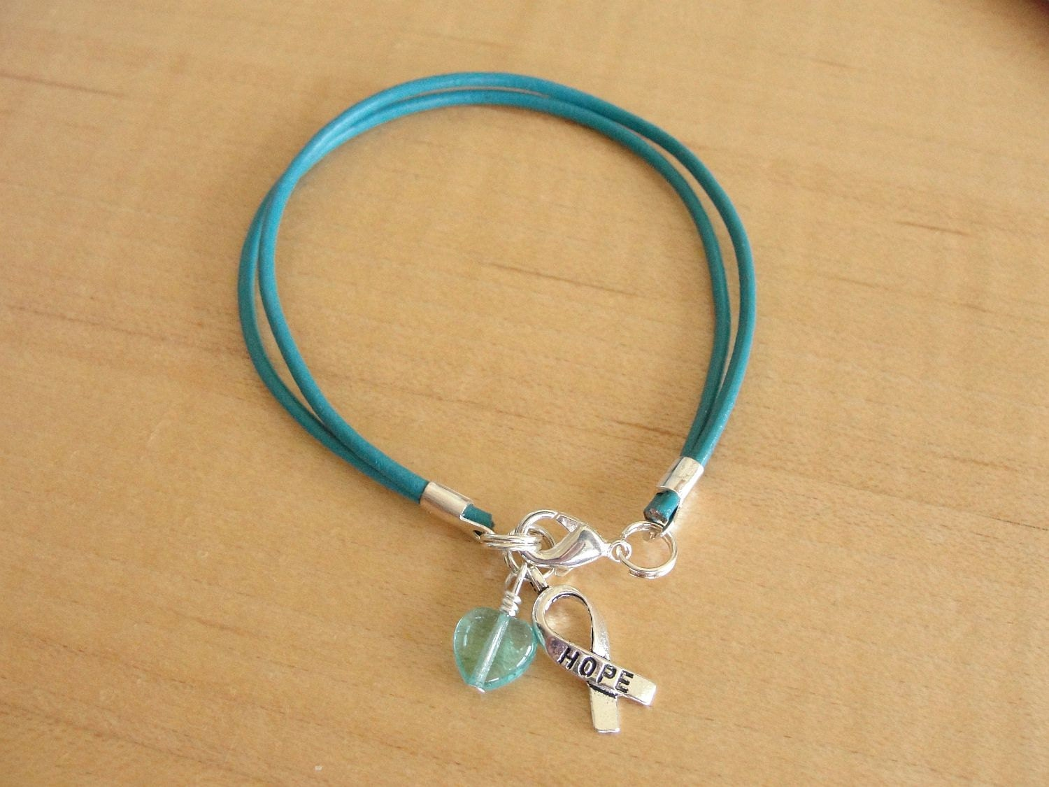 collections teal ribbon will s ovarian synodrome bracelet tourette hope power handmadelovestories ocd ptsd strength scleroderma awareness il cancer fullxfull