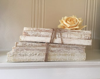 uncovered book stack, painted books, rustic book decor, white books, Beige Books, nortic, rustic, small books, Shabby Chic Book Decor
