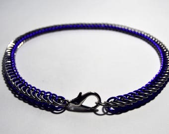 4 in 1 Half Persian Stainless Steel and Royal Blue Anodized aluminum Clasp Necklace