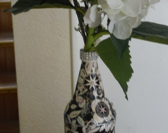 Bottle Art in Black and White w/ Black and White Flowers