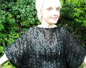 Vintage Black Sequin Shirt 1970s Disco Dolman Sleeve Top Formal Blouse Holiday Fashion Beaded Glam