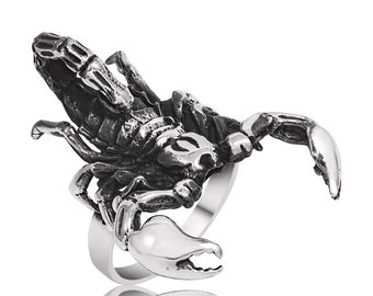 Sterling Silver Scorpion Men's Ring, Silver Scorpio Ring