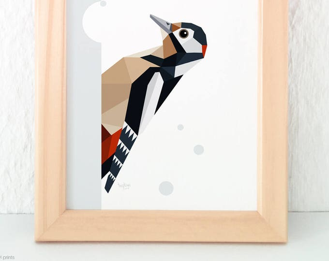 Woodpecker print, Geometric woodpecker, European wildlife, Forest creatures decor, Woodland animal nursery art, Bird watcher art, Woodpecker