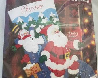 Bucilla New Holiday Time FROSTY LAKE Felt Applique Christmas Stocking