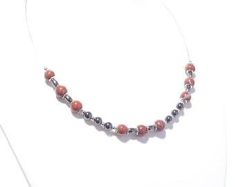 Chain necklace gemstones semi-precious stones Schamottenstein and Hematite Stainless Steel carabiner