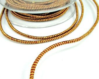 Striped wrapped silk cord, satin cord, yellow / orange, 2 meters