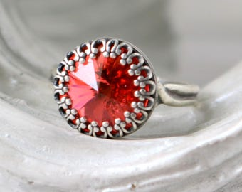 Princess Ring   Watermelon   Padparadscha   Swarovski Crystal Ring   Antique Silver   Victorian Crown   Wedding Jewelry   Gift For Her