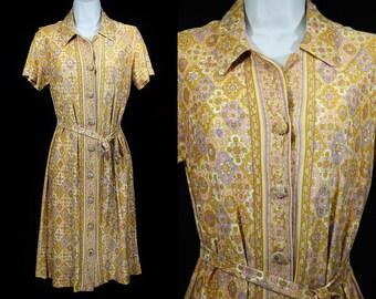 Vintage 50's Golden Yellow Lavender & Pink Belted Short Sleeved Dress S