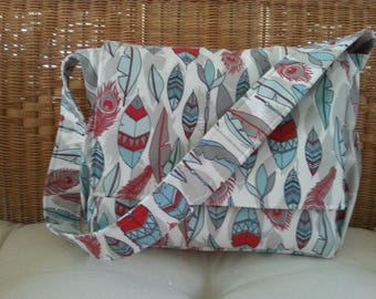 Red, Gray, and Aqua Feathers Messenger Diaper Bag