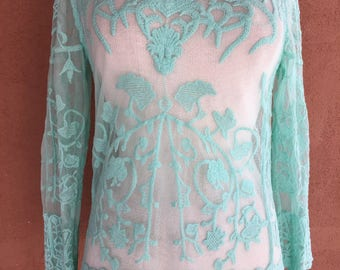 Sheer Turquoise Long Sleeves Cotton Blouse