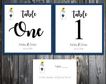 25 Mason Jar with Sunflower Wedding Table Numbers and 250 place settings for reception tables