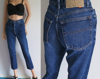 High waisted jeans mom pants, blue denim, vintage retro trousers, slim tapered cropped leg, waist 25.5, leg 27, small