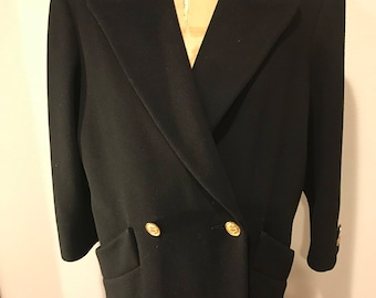 Sale Ladies  Womans BILL BLASS SIGNATURE Designer Late 80s Early 90s Black Double Breasted Wool Coat Menswear iNSPIRED !