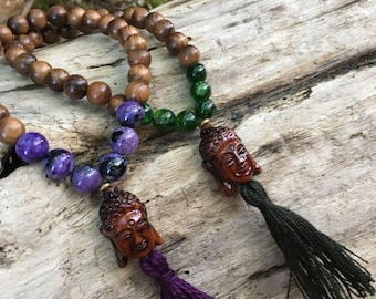Diopside or charoite Wrist Mala with Buddha guru bead Prayer Beads Meditation Yoga Bracelet B158