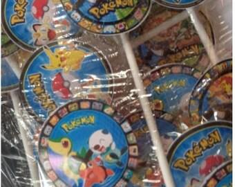24 POKEMON Lollipop Favors -Pokemon Lollipops - Pokemon Favors - Pokemon Birthday