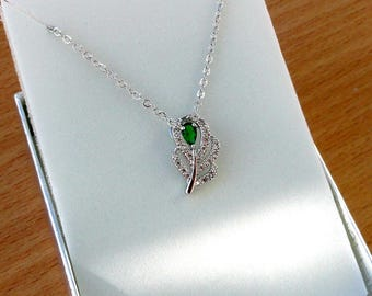 Emerald Green necklace Green jewelry Gift for mother of Bride gift Birthday gift for girlfriend Dainty necklace Emerald Feather necklace
