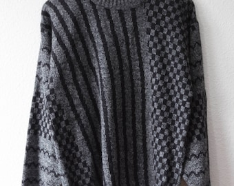 90's vintage black and grey sweater