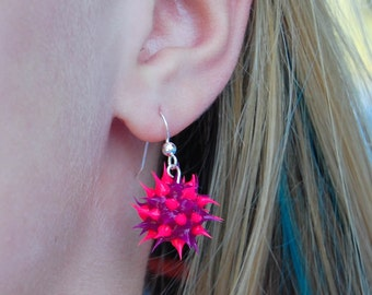 Purple and pink spiky earrings, spiky rubber earrings, spiky ball earrings, silicone ball earrings, sterling silver and spiky ball dangles