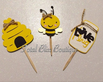12 Bumble Bee Cupcake Toppers, Mommy to Bee, Bumble Bee Baby Shower Decorations, Bumble Bee Centerpiece, Bumble Bee Party