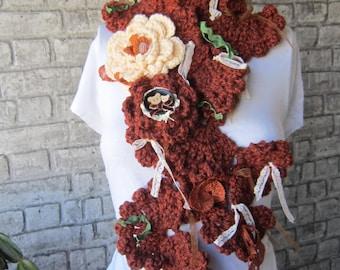 Crochet ruffle scarf , long crochet scarf ,scarf, womens Neckwarmer, crochet, flower scarf, gift ideas