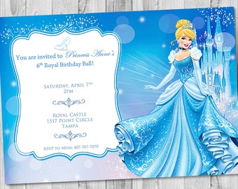 Cinderella thank you card photo chevron cinderella birthday cinderella birthday invitation bookmarktalkfo Gallery