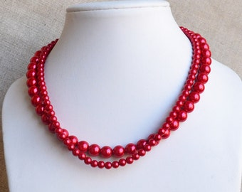 red pearl necklace,2-rows pearl necklaces,wedding necklace,bridesmaids necklace,glass pearls necklaces,red pearl necklace,necklace,wedding