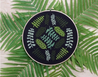 Ferns - Modern cross stitch pattern PDF - Instant download