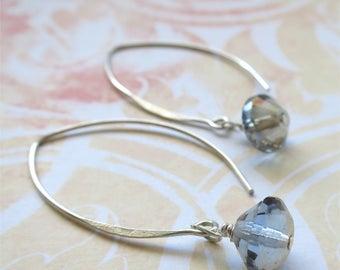 Blue gray earrings faceted czech glass beads on long sterling silver earwires