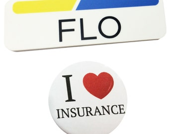 1 x 3 Plastic FLO Name Tag Badge & Button Progressive Insurance Halloween Prop Pack