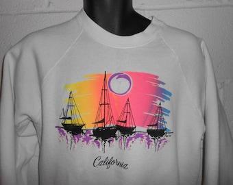 Vintage 80s 90s Neon White California Pullover Crewneck Sweatshirt M