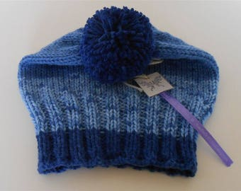 Hand Knit Blue Hat Slouchy Pom Pom Hats, Knitted Bobble Hat