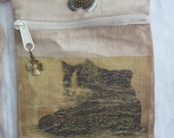 Cat purse- Small bag Shoulder strap-Cross Body Bag-OOAK Bag- Canvas Bag- Kitty Purse- Gift under 30