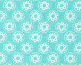Lola Collection - Little Flowers by Tanya Whelan for Free Spirit -  ZD-70474 - Aqua and White Floral 100% Cotton