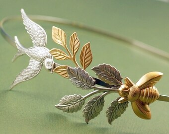 Bird and bee bridal headband leaves head piece garden leaf goddess nature silver brass whimsical wedding hair accessory vintage style
