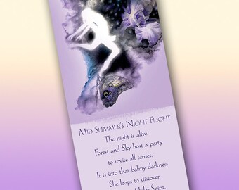 MidSummer's Night Flight Bookmark - Bookmarker - Bookmarking - Bookmarks for Books - Book Mark - Reading Bookmark - Butterfly Art - Moon Art