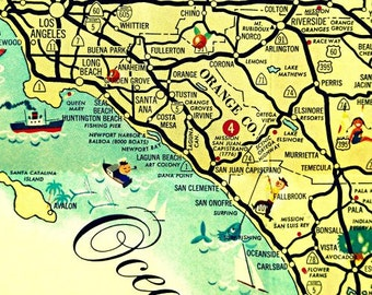 Mid Century California Wall Art, California Map Art retro map, Los Angeles Gifts, Delmar, Laguna Beach, Travel Art, Mid Century Decor Ideas