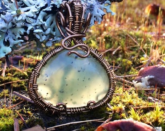 necklace Prehnite from Australia  wrapped with antique brass