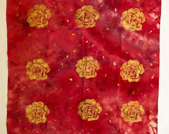 Handmade Handdyed Fashion Square Silk Scarf Golden Rose One of a kind Customized Limitedition