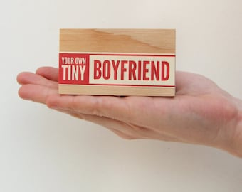 Your Own Tiny Boyfriend - Ships in 2-3 days / divorce gift, newly single, vintage packaging, vintage label, typography, valentines day