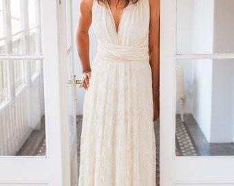 Beach style wedding dress, lace beach bridal gown, lace wedding dress, multiway wedding dress, long lace dress, long white dress wedding