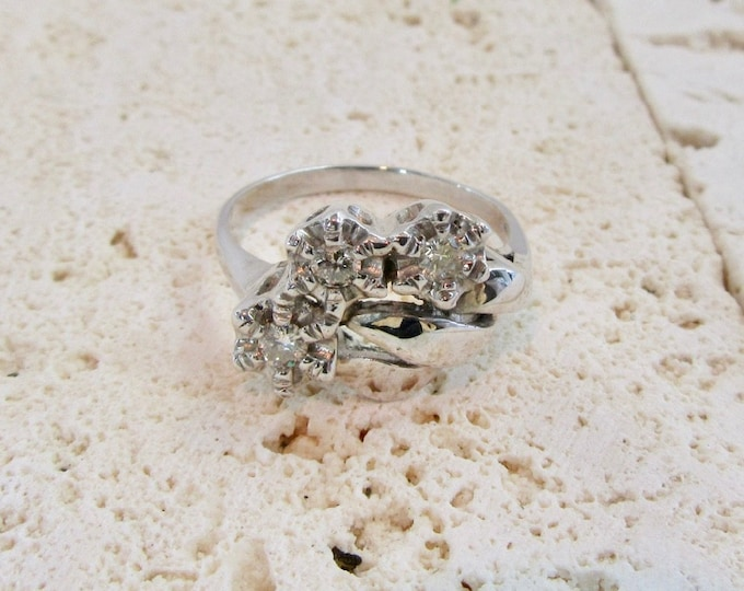 White Gold Diamond Estate Ring, Cocktail Ring, Diamond Ring, Vintage Diamond Ring, Right Hand Ring, 1950's Diamond Ring