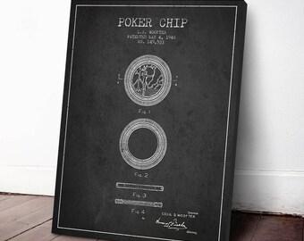 1948 Poker Chip Patent, Poker Poster, Casino Decor, Casino Print, Canvas Print, Wall Art, Home Decor, Gift Idea, GT26C